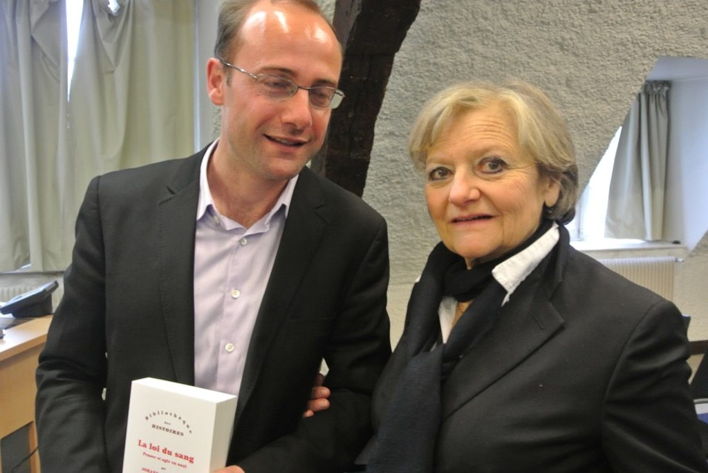 Marie Christine Perreau-Saussine and the laureate, Prof. Johann Chapoutot