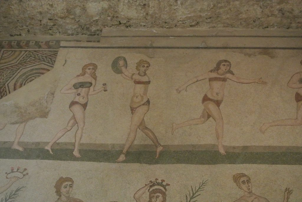 "Surprising,  the ""bikini"" ladies show how sporty women were at the time!"