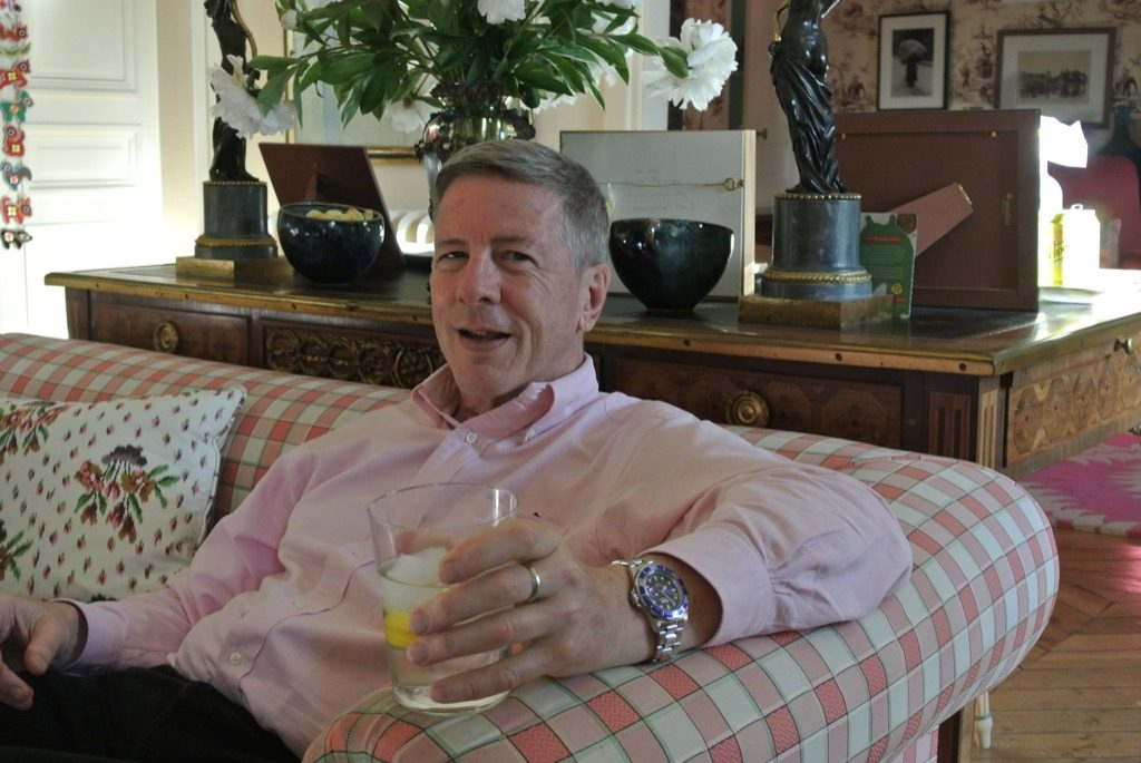 Author Charles Kaiser enjoying a gin and tonics in Paris in June.