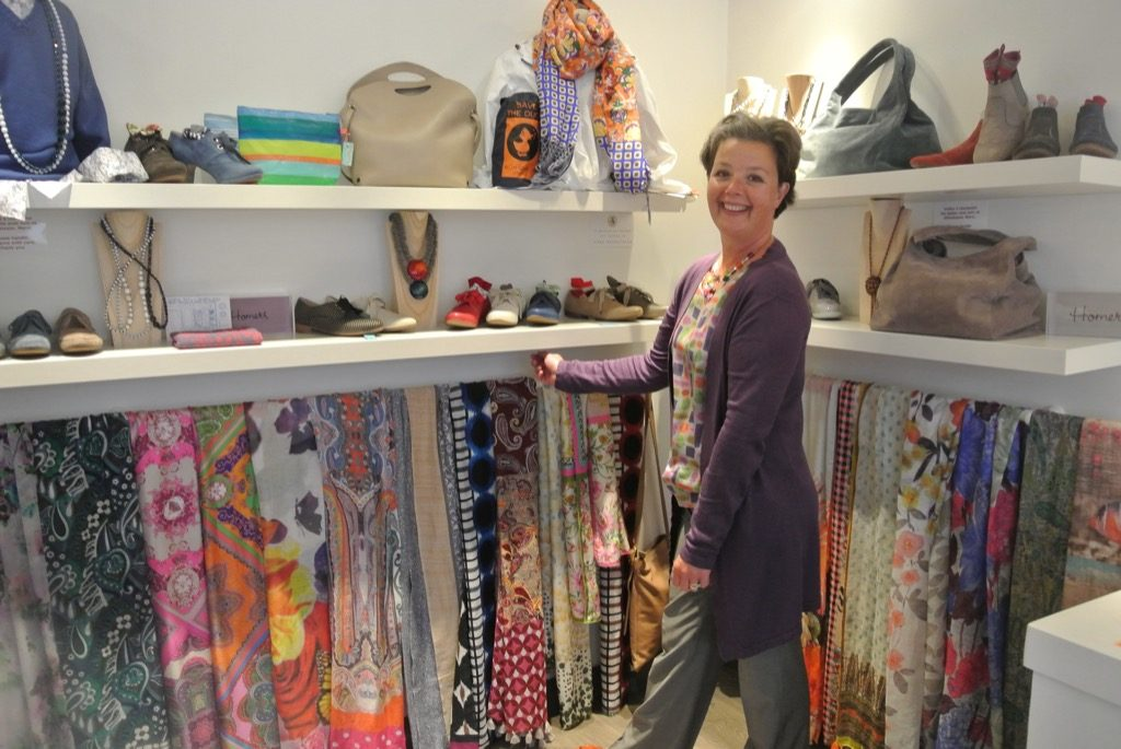 Marie Hélène Beaurepaire in her shoe shop. She also sells the best scarves
