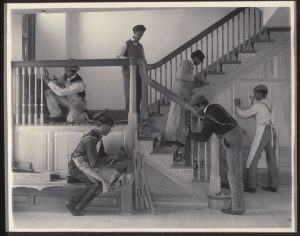 Johnston, Frances Benjamin (1864-1952): Stairway of the Treasurer's Residence: Students at Work, plate from an album of Hampton Institute. Hampton, Virginia, 1899-1900.. New York, Museum of Modern Art (MoMA) Platinum print, 7 1/2 x 9 1/2 (19 x 24.1 cm). Gift of Lincoln Kirstein. Acc. n.: 859.1965.136.*** Permission for usage must be provided in writing from Scala. May have restrictions - please contact Scala for details. ***