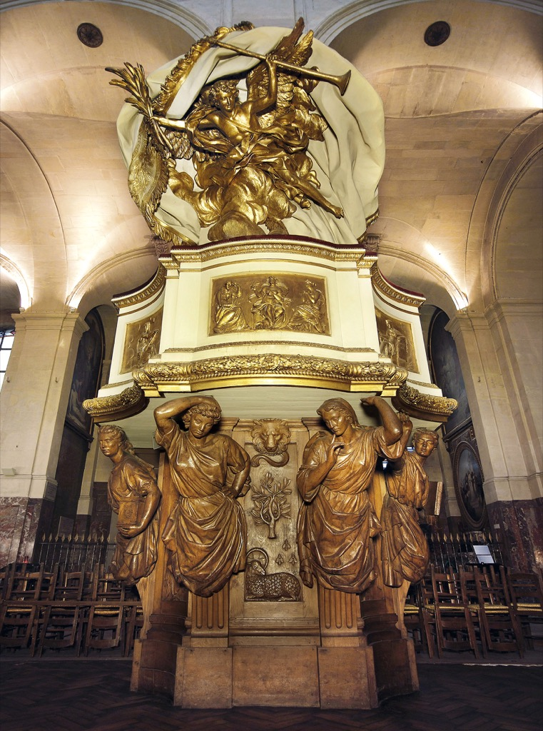 Abat-voix de la chaire, by Simon Challe, 1766 portrays Truth carrying the pulpit from which predicators spoke, photo Jean-François Fortchantre