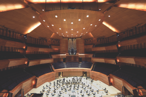 Decorated in three kinds of wood, the Radio France auditorium is a splendor