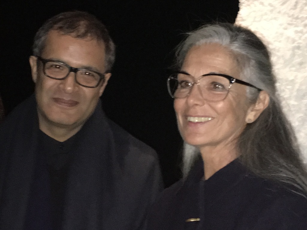 Noureddine Amir with Monique Bresson who sells some of his clothes in Marrakech