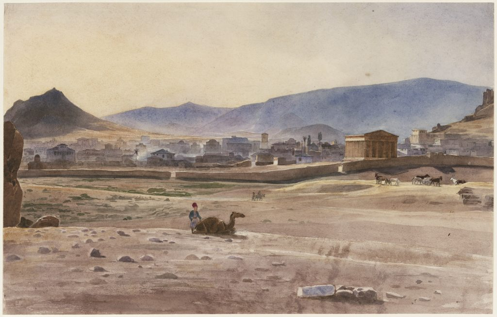 A view of Athens, 1834, watercolor and pencil on paper, the Lowell Institute