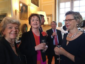 Catherine Rathle, Ariane Malvoy with her husband Guy behind, and Dominique d'Amécourt