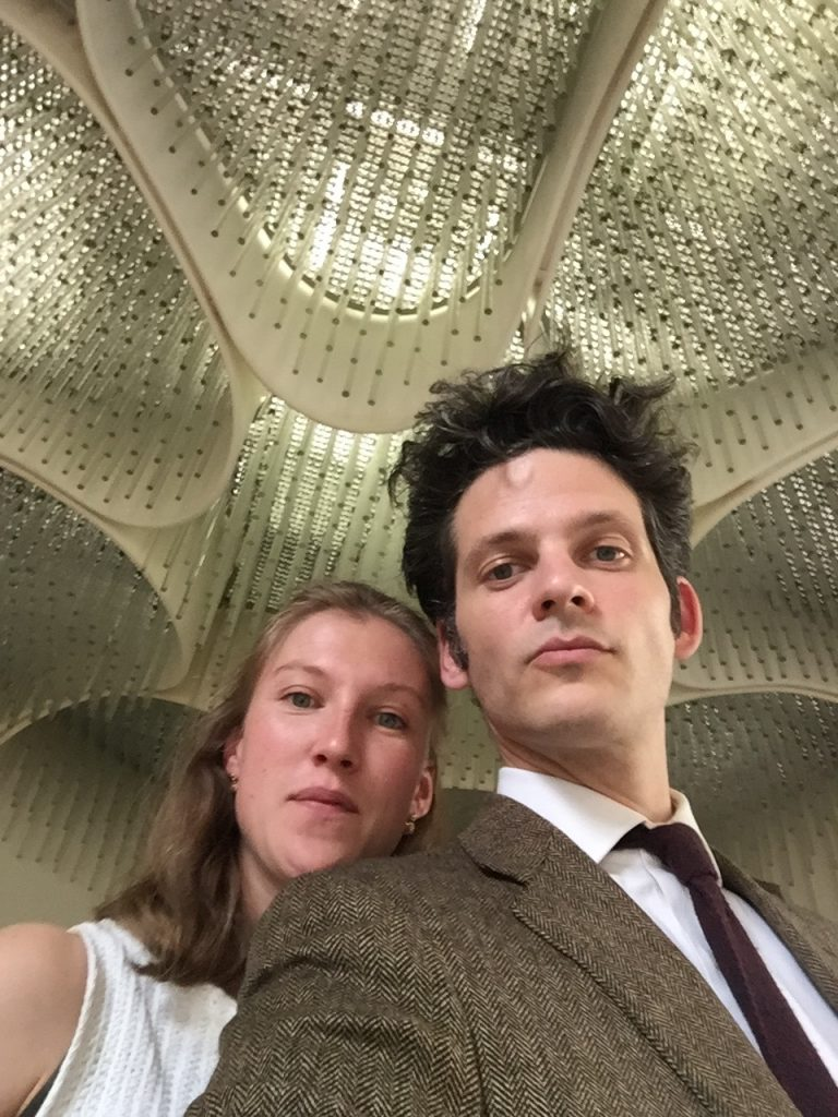 Alice Lemoine and Benjamin Paulin who is primarily a singer under the glass suspension created for the Elysée