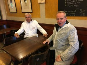 Amuch needed coffee stop at 7 am where former minster renaud Donnedieu de Vabres sits with President Stéphane Layani