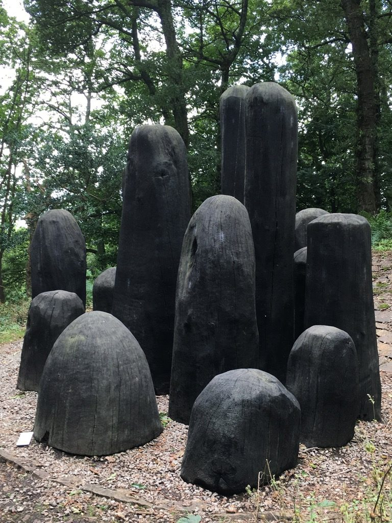 "Davis Nash, ""Black Mound"", charred oak shapes"