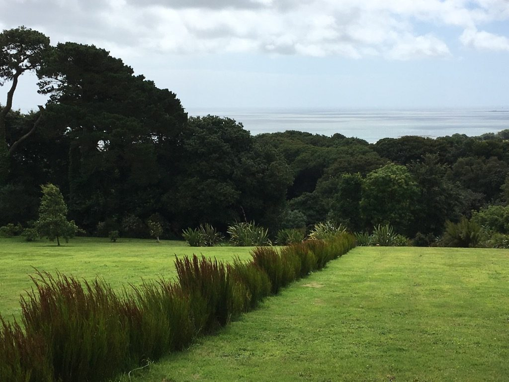"Richard Long's ""Tremenheere Line"" is made of South African restio, Boloskion tetraphylllum. It points to the spectacular views from the very top of the garden and faces south"