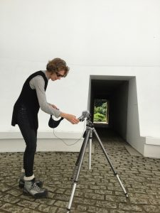 New York artist Michelle Jaffé at work taping sound in James Turrell's installation