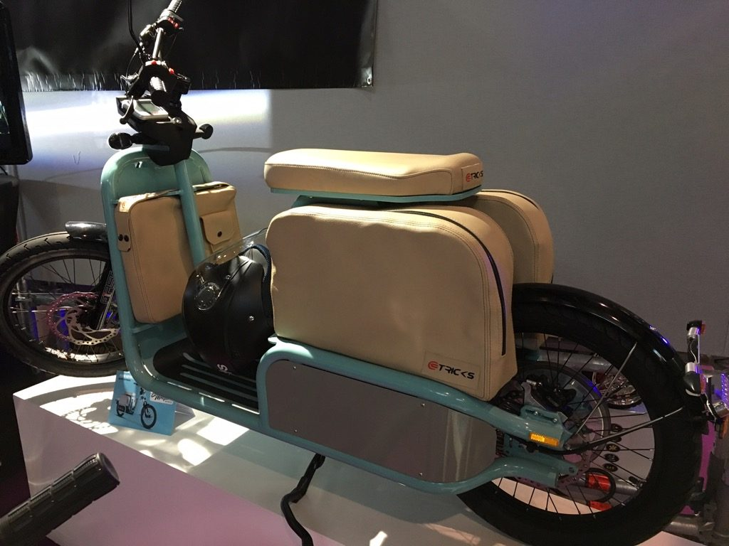 "A vintage electric scooter, ""Mosquito"" by Tricks comes in turquoise, red, black and Orange in April 2017"