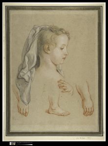 Study for a young girl in three pencils