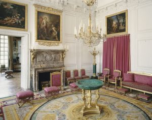 Drawing room with malachites and La Fosse paintings at The Grand Trianon