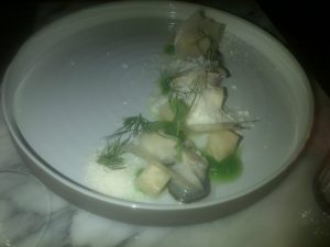 "Oysters with celery and horseradish ""snow"""