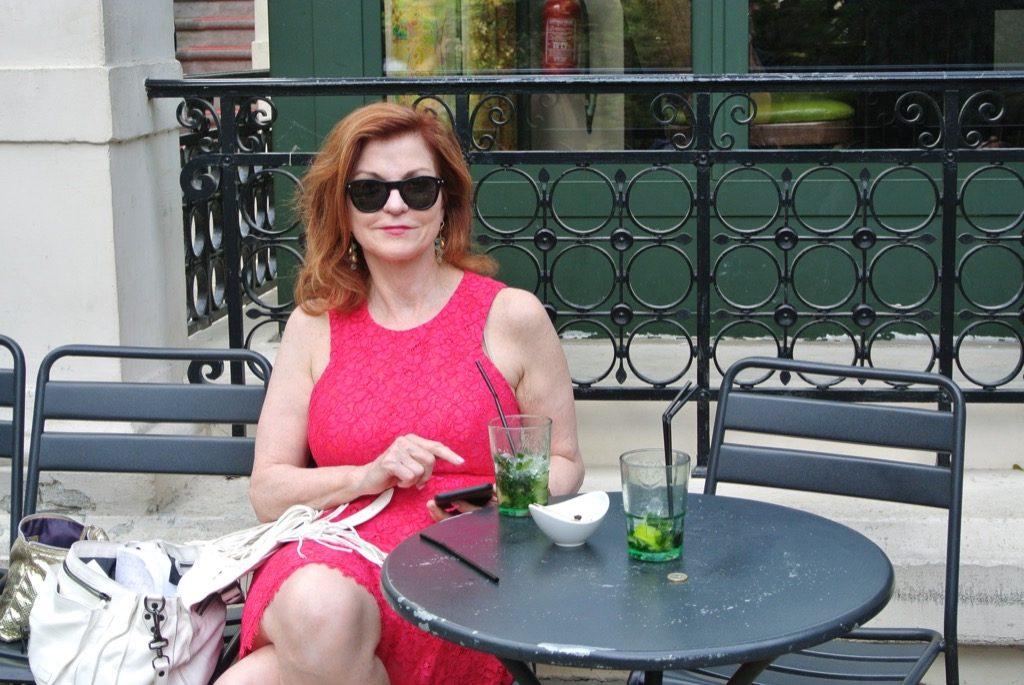 Maureen Dowd enjoying a quiet moment after writing her column