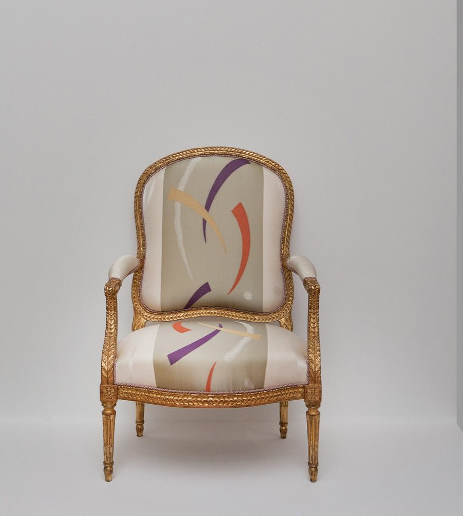 One of four Louis XVI armchair by Jean Baptiste Delaunay, 1764, recently covered in Patrick Frey silk