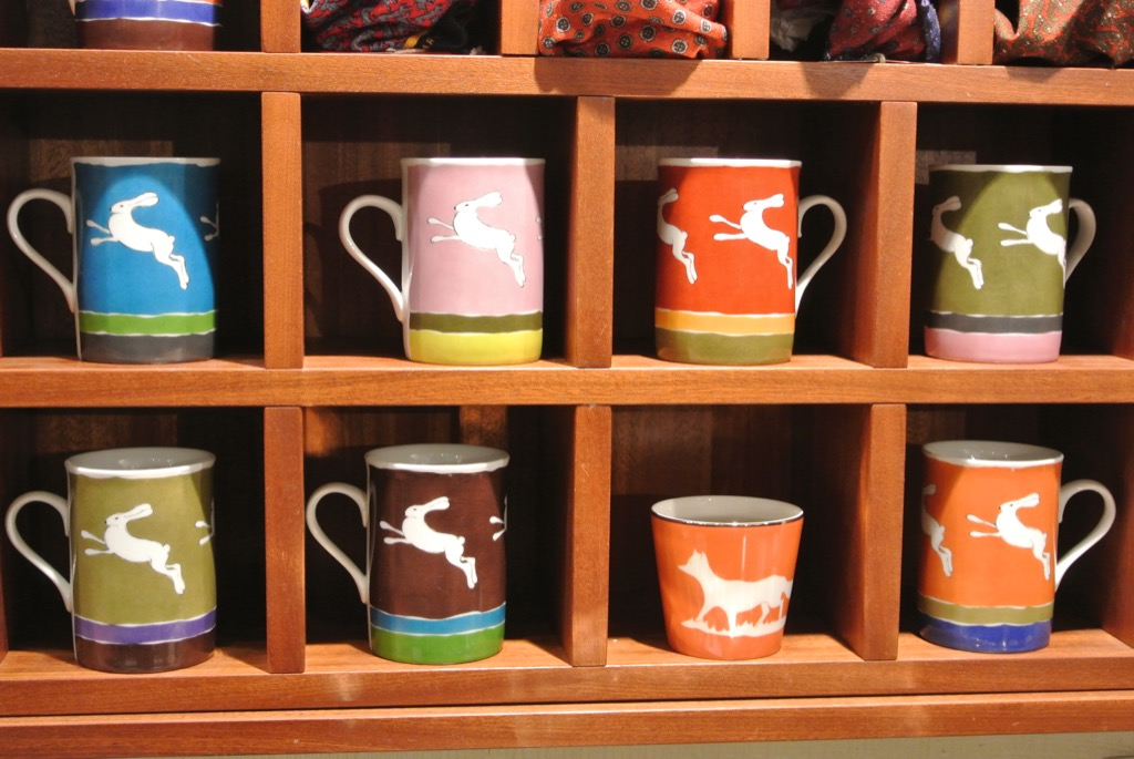 Hand painted mugs with foxes or hare at 50€