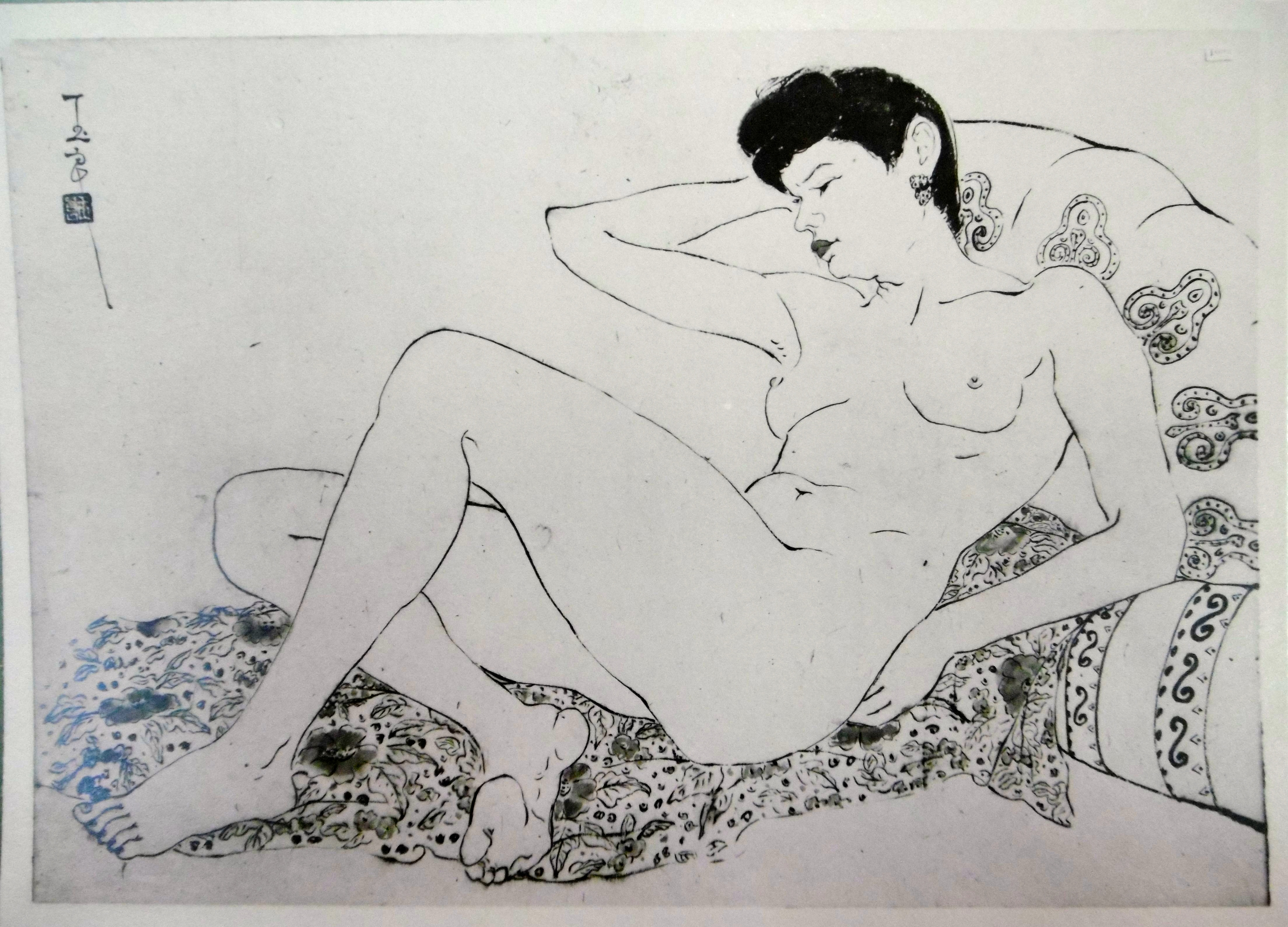 PAN Yuliang, Nude. This ink and watercolor was painted in 1946