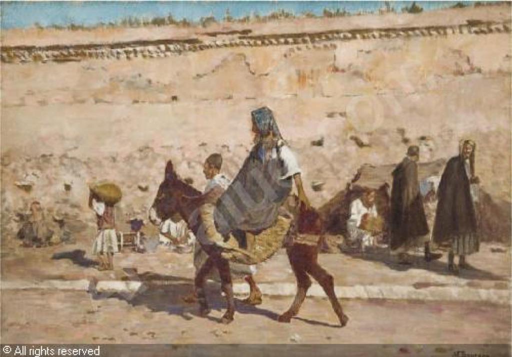 Street scene in Marrakech, Joseph Felix Bouchor