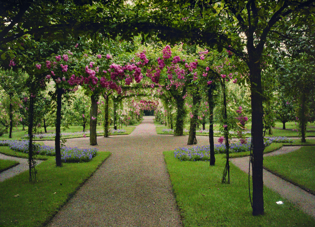 The French garden designed by Achille Duchêne, photo Auguste Léon, 6 July 1915, © Musée Albert-Kahn
