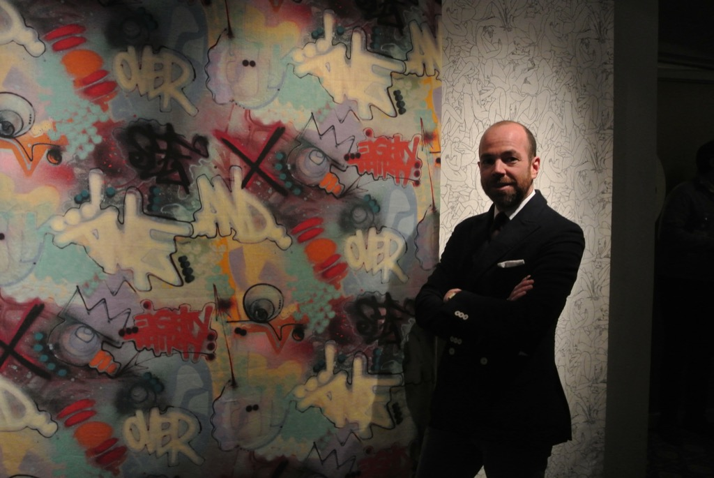 Pierre Frey, the grandson of the founder with graffiti artist Toxic's linen printed with inkjet