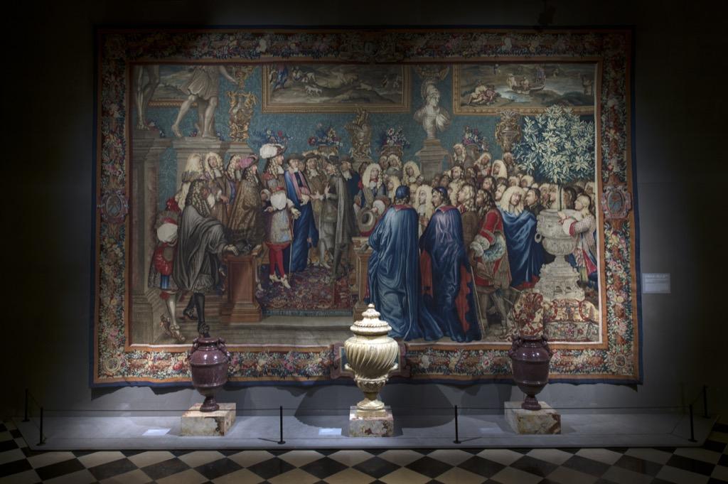 L'audience du cardinal Chigi par Louis XIV le 28 juillet 1664, 8e pièce de la tenture de l'Histoire du Roy, Manufacture des Gobelins, d'après Charles Le Brun, tissage de 1665 à 1680, ©D-Saulnier