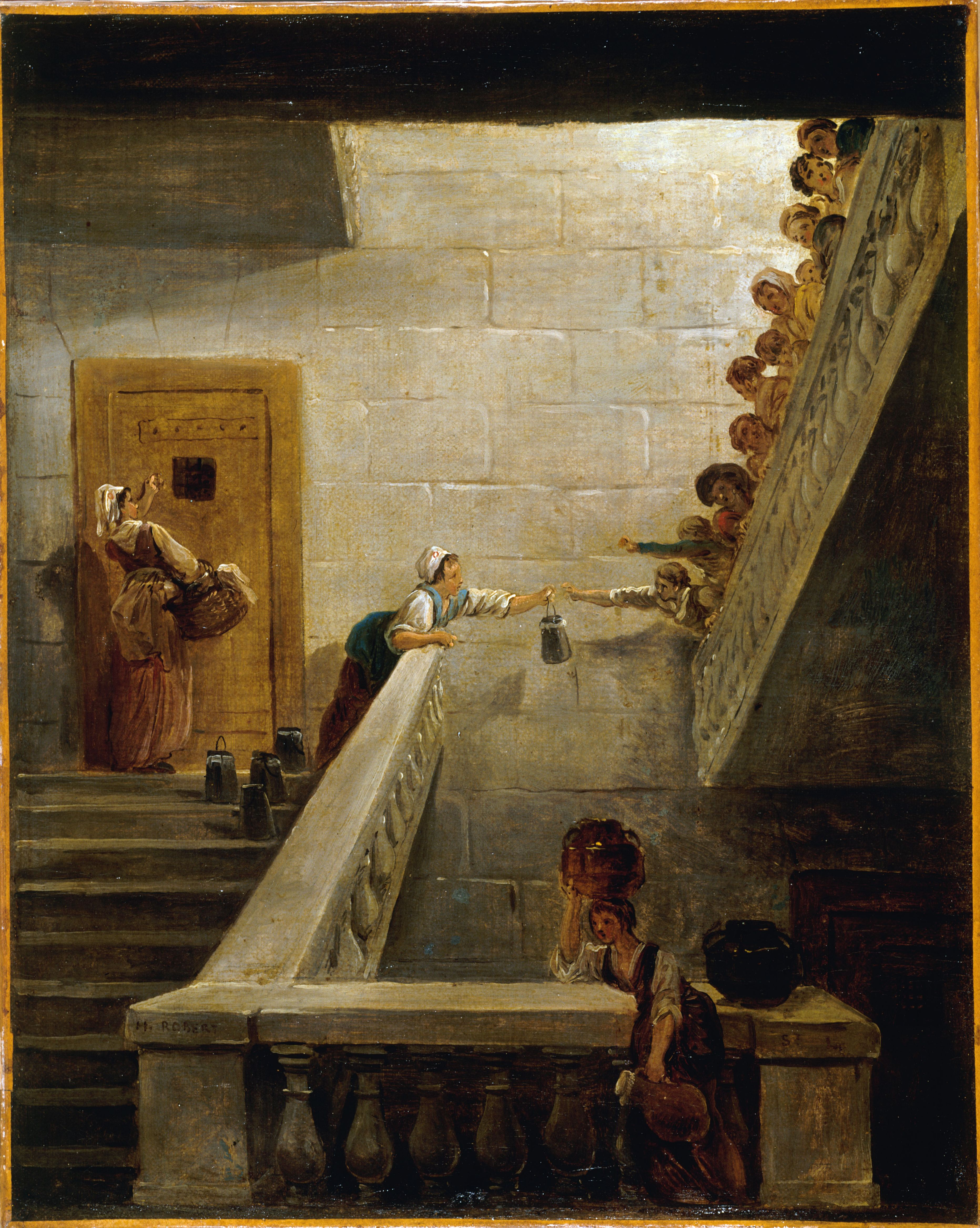 """Hubert Robert (1733-1808). """"Le ravitaillement des prisonniers à Saint-Lazare"""". Huile sur toile. Paris, musée Carnavalet."""