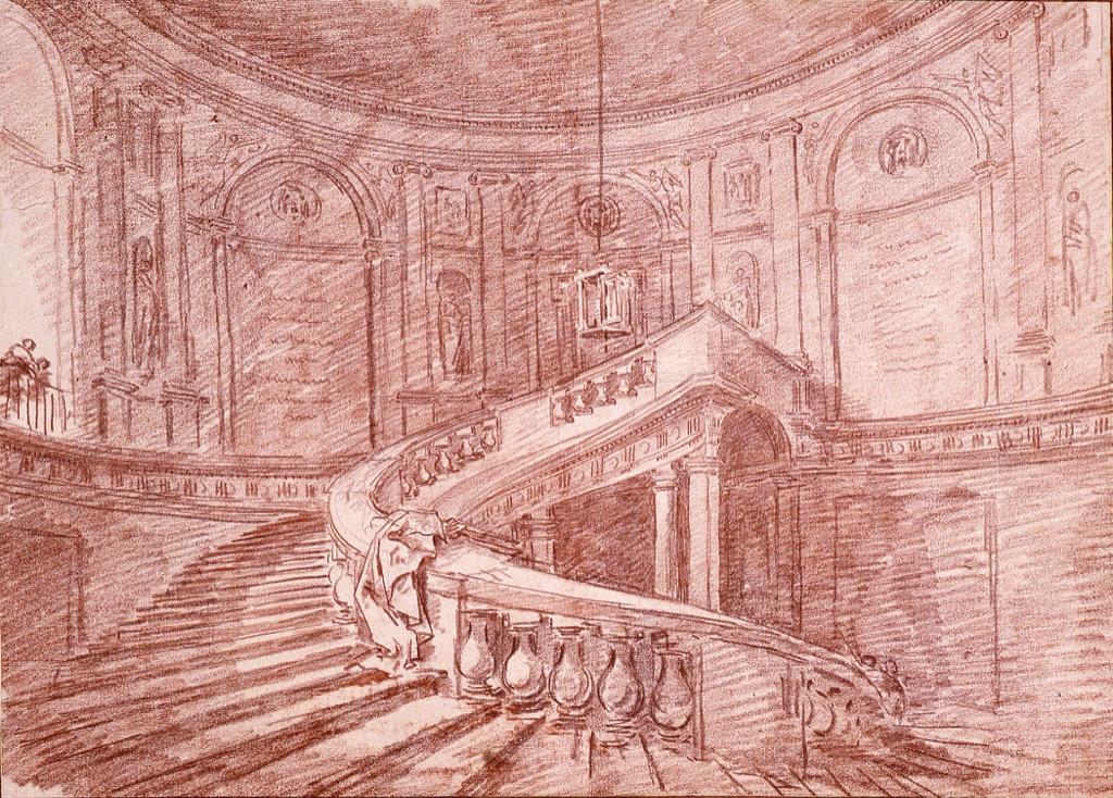 """""""Etude pour l'escalier tournant au palais Farnese à Caprarola"""", 1764, sanguine, Musée de Valence, Photo Philippe Petiot"""