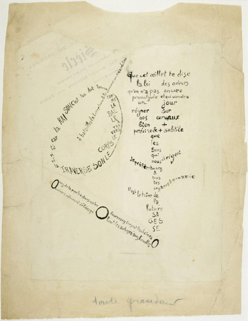 Apollinaire, La Mandoline, l'oeillet et le bambou, calligramme, © Centre Pompidou, MNAM-CCI, Dist. RMN-Grand Palais / Adam Rzepka