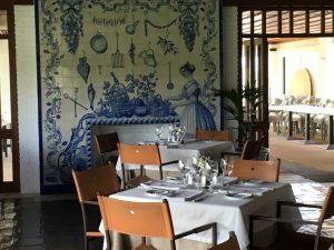 The dining room of the club has a beautiful azulejos panel