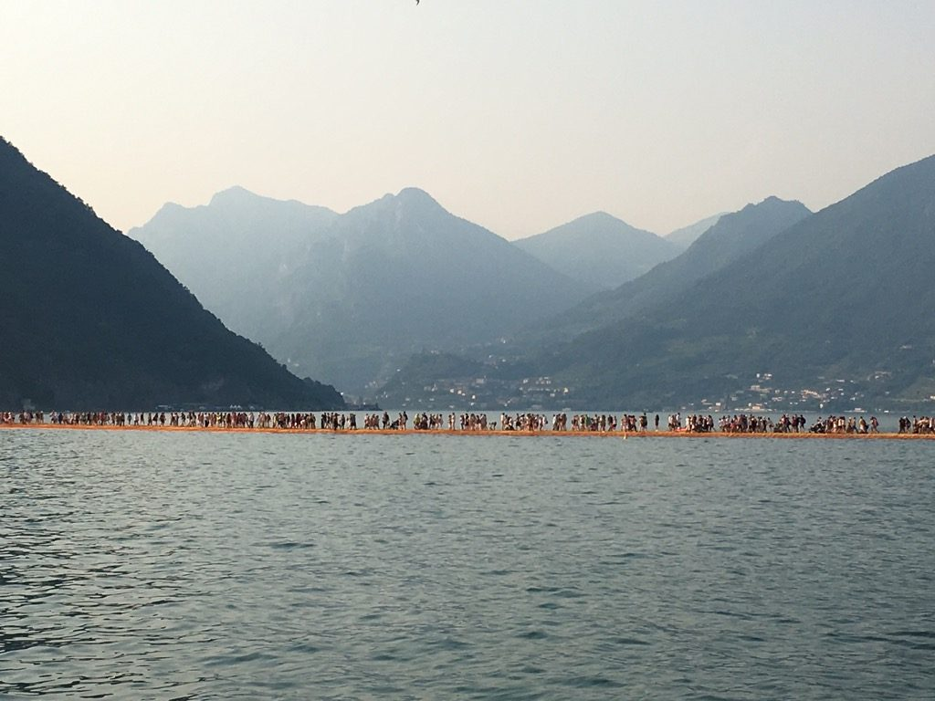 The vision of the floating piers with he mountains around is magical