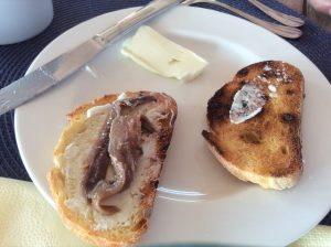 Breakfast at Casa Platani, anchovies and figs