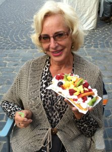 Iloved this lady on the flea market voluptuously eating a waffle filled with whipped cream and fruit