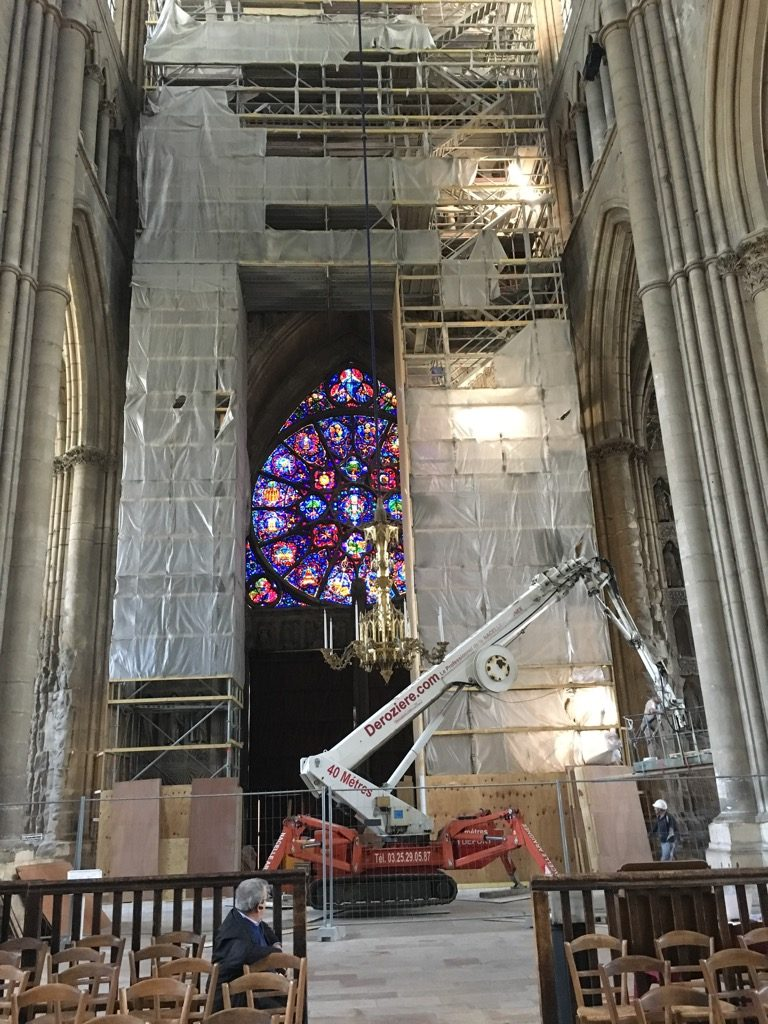 Watching the crane undo the scaffolding in the cathedral was a fascinating experience