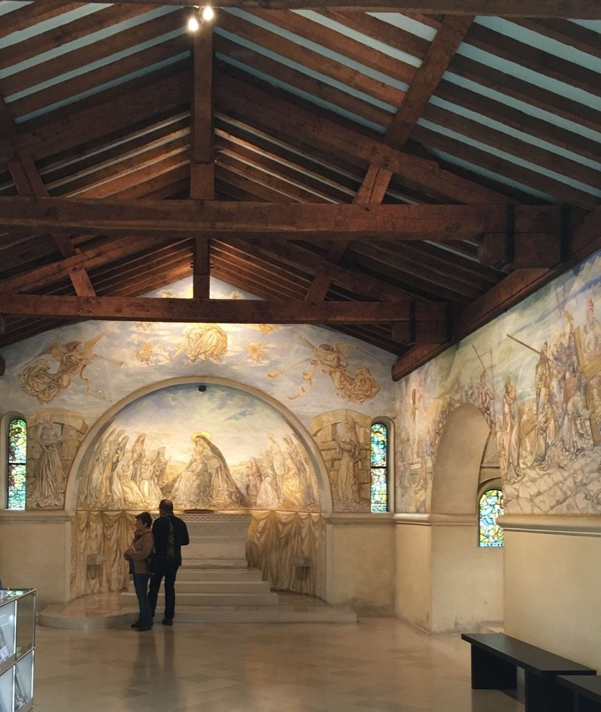Inside Chapelle Notre Dame de la Paix, Japanese painter Fujita created magical frescoes on concrete in June to August 1966